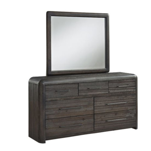 Oakley Distressed Java Brown Dresser with Mirror