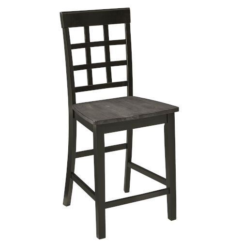 Salem Gray and Black 24-Inch Window Pane Counter Chair, Set of 2