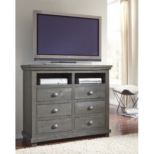 Willow Distressed Dark Gray Media Chest
