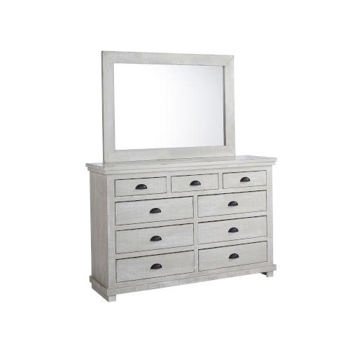 Willow Gray Chalk Drawer Dresser with Mirror