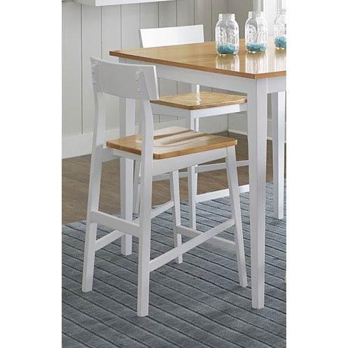Light Oak/White Counter Chair, Set of 2