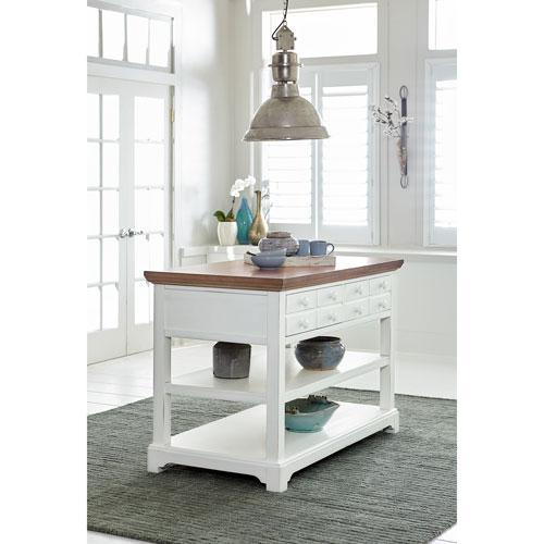 Progressive Furniture Light Oak/Distressed White Kitchen Island