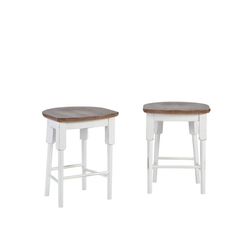 Light Oak and Distressed White Counter Stool