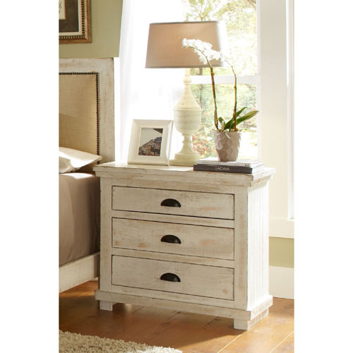 Progressive Furniture Willow Distressed White Nightstand
