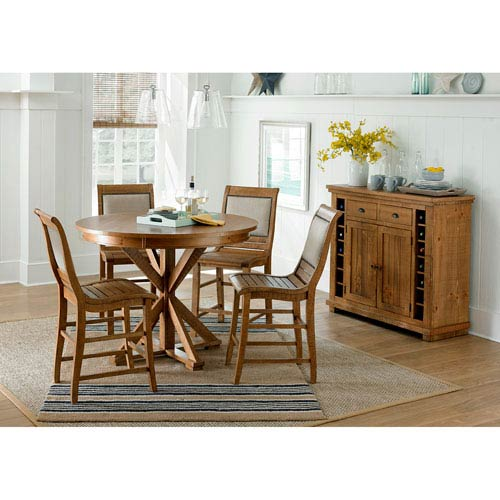 Willow Distressed Pine Counter Upholstered Chair, Set of 2
