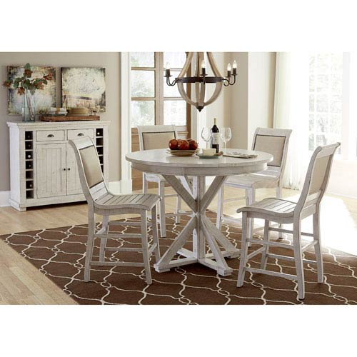 Willow Distressed White Counter Upholstered Chair, Set of 2