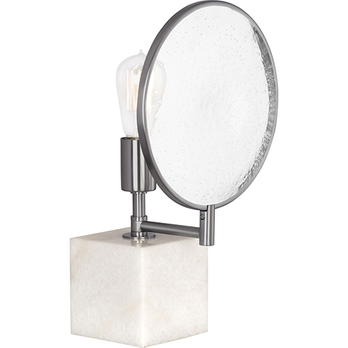 Robert Abbey Fineas Dark Antique Nickel and Alabaster Stone Base 15-Inch One-Light Table Lamp