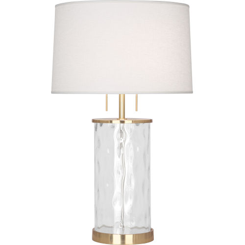 Gloria Modern Brass Two-Light Table Lamp With Oyster Linen Shade