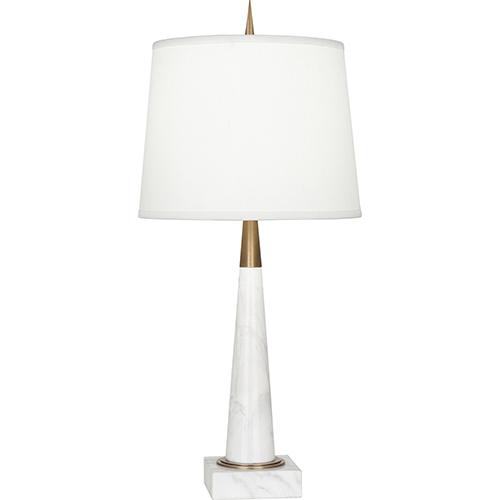 Robert Abbey Florence Warm Brass and White Marble 21-Inch One-Light Table Lamp
