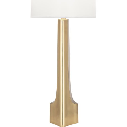 Margeaux Modern Brass One-Light Table Lamp With White Oval Organza Shade
