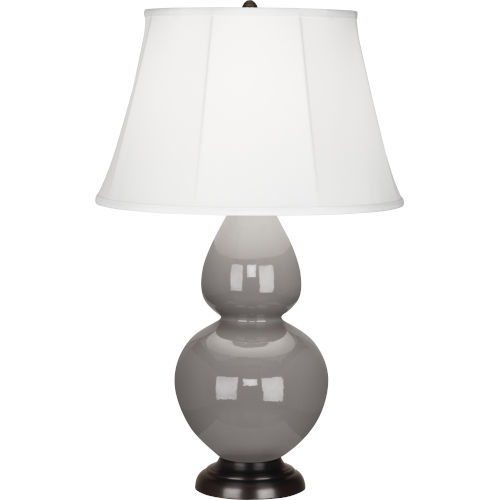 Double Gourd Smoky Taupe Glazed Ceramic One-Light Table Lamp With Ivory Silk Stretched Fabric Shade