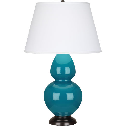 Double Gourd Peacock Glazed Ceramic One-Light Table Lamp With Pearl Dupioni Fabric Shade
