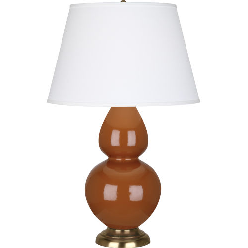 Double Gourd Cinnamon Glazed Ceramic One-Light Table Lamp With Pearl Dupioni Fabric Shade