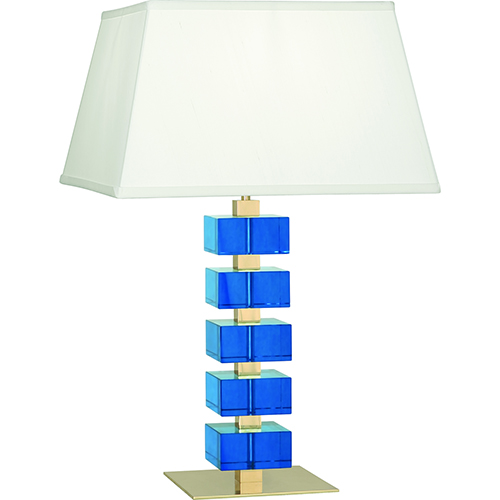 Robert Abbey Jonathan Adler Monaco Lacquered Natural Brass and Turquoise Crystal Blocks 26-Inch One-Light Table Lamp