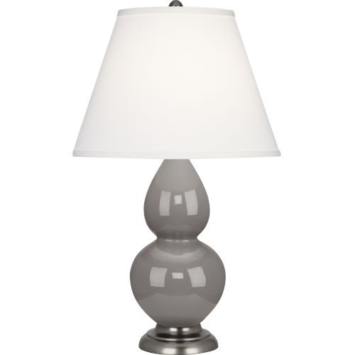 Small Double Gourd Smoky Taupe Glazed Ceramic One-Light Accent Lamp With Pearl Dupioni Fabric Shade