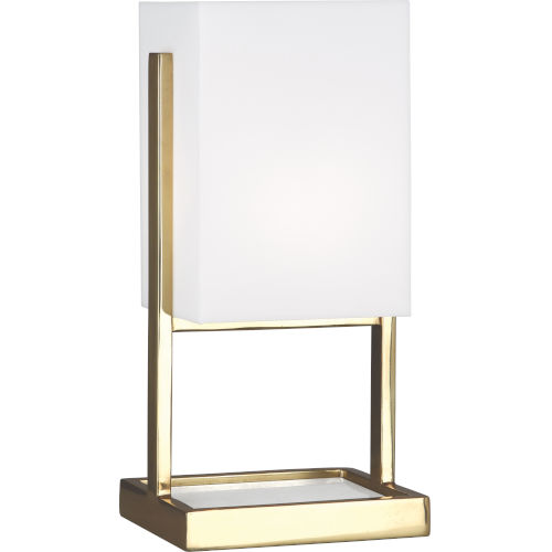 Robert Abbey Nikole Modern Brass and White Marble 13-Inch One-Light Table Lamp