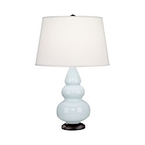 Small Triple Gourd Bronze One-Light Accent Lamp With Pearl Dupioni Fabric Shade
