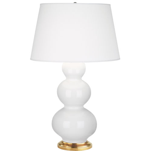 Triple Gourd Natural Brass One-Light Table Lamp With Pearl Dupioni Fabric Shade