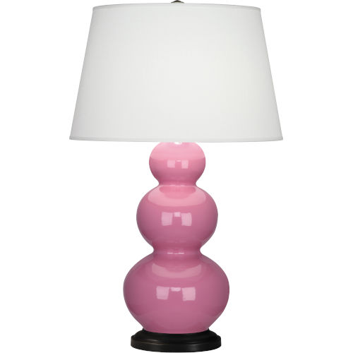 Triple Gourd Bronze One-Light Table Lamp With Pearl Dupioni Fabric Shade