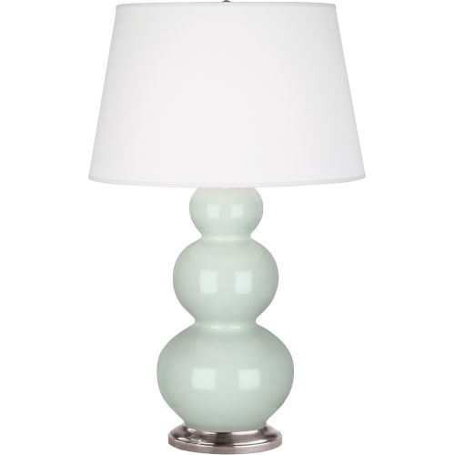 Triple Gourd Celadon Glazed Ceramic One-Light Table Lamp
