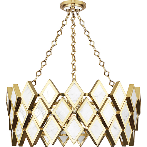 Robert Abbey Edward Modern Brass with White Marble Accents 26-Inch Four-Light Chandelier