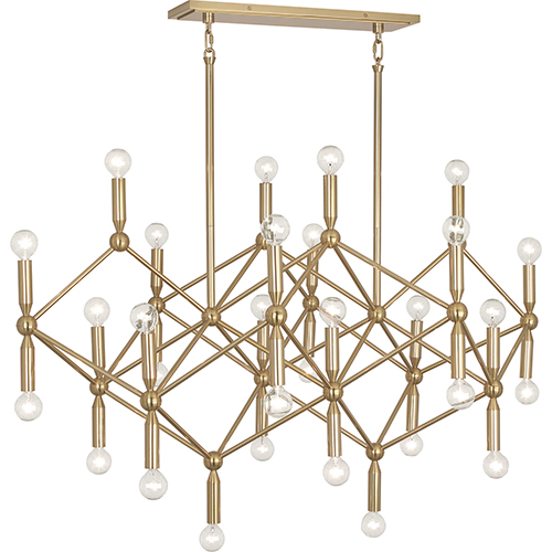 Jonathan Adler Milano Polished Brass  44-Inch 30-Light Chandelier