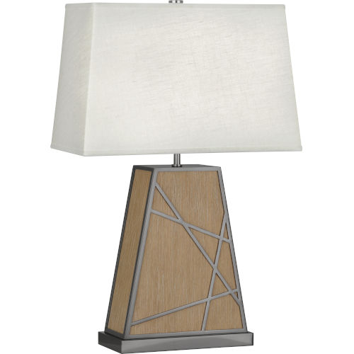 Michael Berman Bond Driftwood Oak Wood One-Light Table Lamp With Oyster Linen Shade