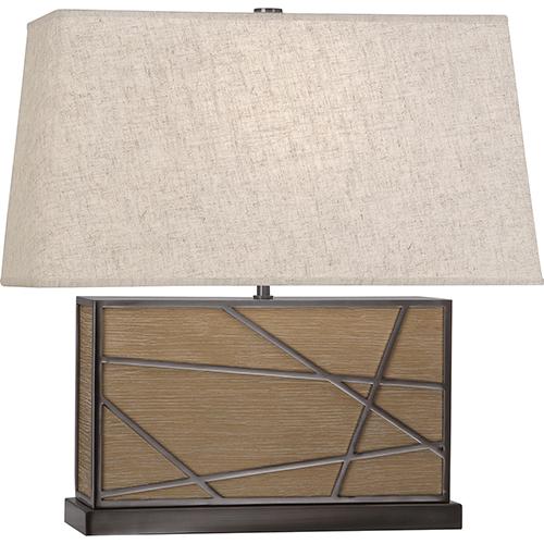 Robert Abbey Michael Berman Bond Driftwood Oak Wood with Blackened Nickel Accents 20-Inch One-Light Table Lamp