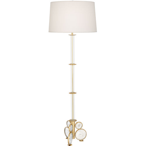 Atticus Modern Brass One-Light Floor Lamp With Pearl Dupioni Shade