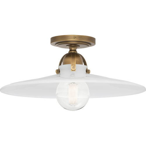 Rico Espinet Arial Warm Brass One-Light Flushmount With White Glass