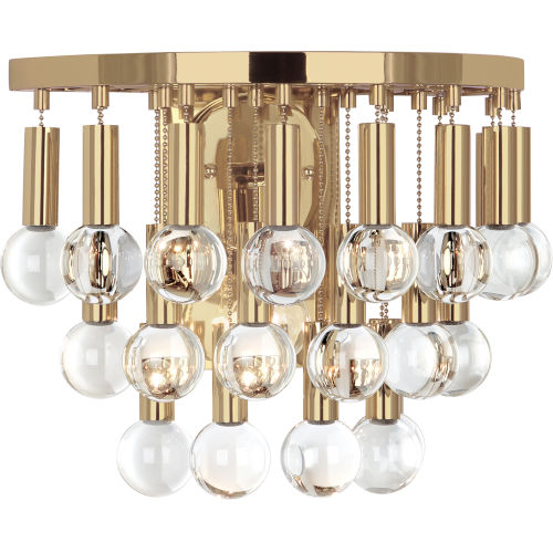 Robert Abbey Jonathan Adler Milano Polished Brass One-Light Wall Sconce