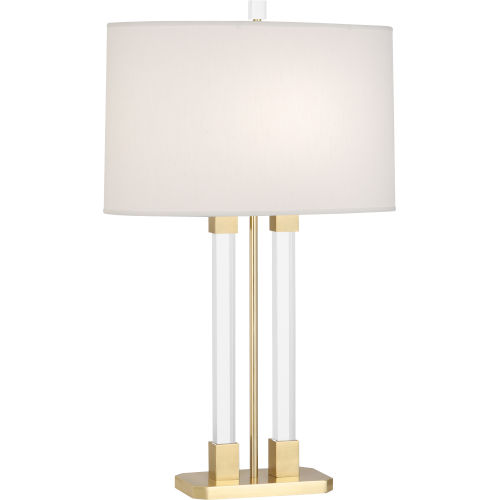 Plexus Modern Brass One-Light Table Lamp With Pearl Dupioni Fabric Shade