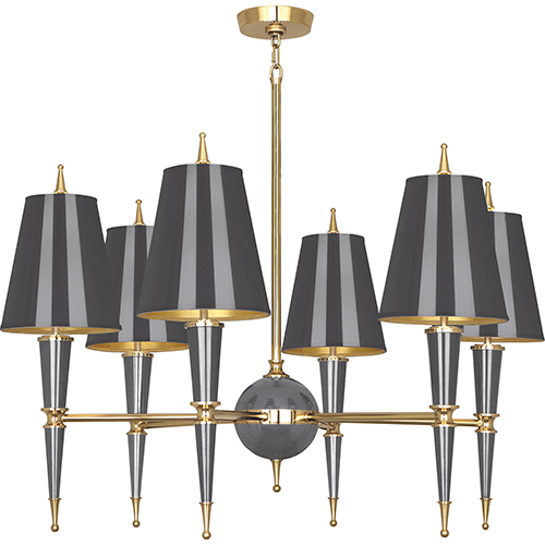 Robert Abbey Jonathan Adler Versailles Ash Lacquered Paint with Modern Brass Accents 36-Inch Six-Light Chandelier