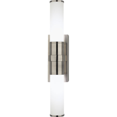 Roderick Silver Two-Light LED Wall Sconce With White Frosted Glass Shades