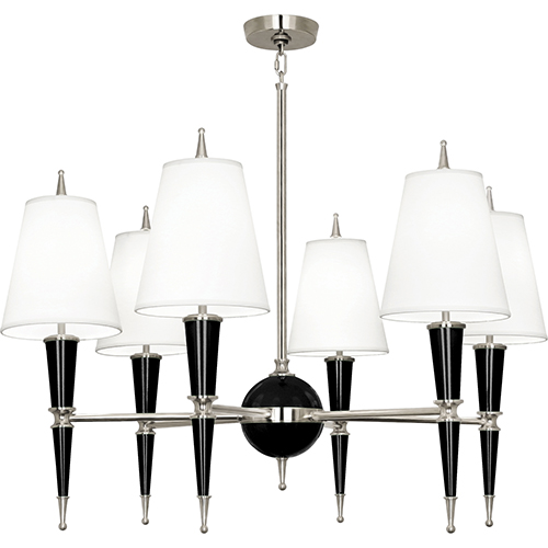 Robert Abbey Jonathan Adler Versailles Black Lacquered Paint with Polished Nickel Accents 36-Inch Six-Light Chandelier