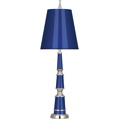 Robert Abbey Jonathan Adler Versailles Navy Lacquered Paint with Polished Nickel Accents 25-Inch One-Light Table Lamp