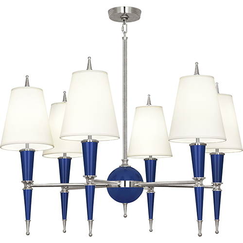 Robert Abbey Jonathan Adler Versailles Navy Lacquered Paint with Polished Nickel Accents 36-Inch Six-Light Chandelier