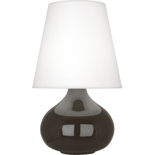 June Coffee Glazed Ceramic One-Light Accent Lamp With Oyster Linen Shade