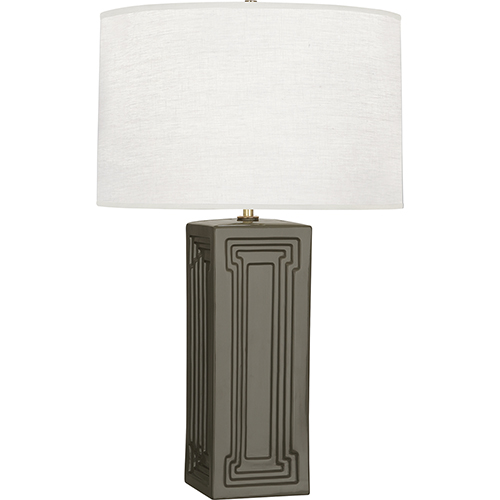 Robert Abbey Williamsburg Nottingham Carter Gray Glazed Ceramic with Modern Brass Accents 30-Inch One-Light Table Lamp