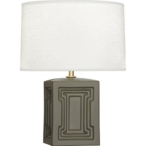 Robert Abbey Williamsburg Nottingham Carter Gray Glazed Ceramic wtih Modern Brass Accents 18-Inch One-Light Table Lamp