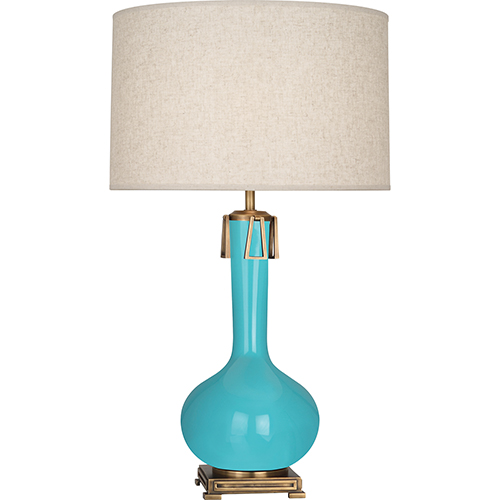 Robert Abbey Athena Egg Blue Glazed Ceramic with Aged Brass Accents 32-Inch One-Light Table Lamp