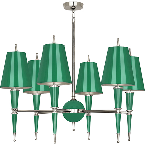 Robert Abbey Jonathan Adler Versailles Emerald Lacquered Paint with Polished Nickel Accents 36-Inch Six-Light Chandelier