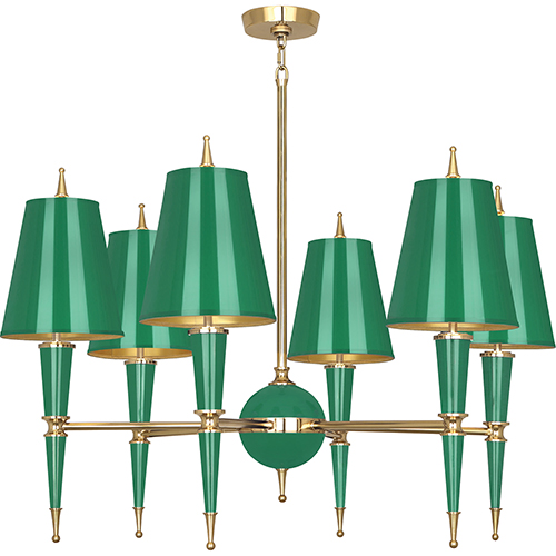 Robert Abbey Jonathan Adler Versailles Emerald Lacquered Paint with Modern Brass Accents 36-Inch Six-Light Chandelier