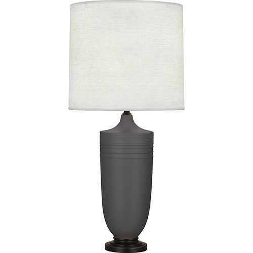 Robert Abbey Michael Berman Hadrian Matte Ash Glazed Ceramic with Deep Patina Bronze Accents 29-Inch One-Light Table Lamp