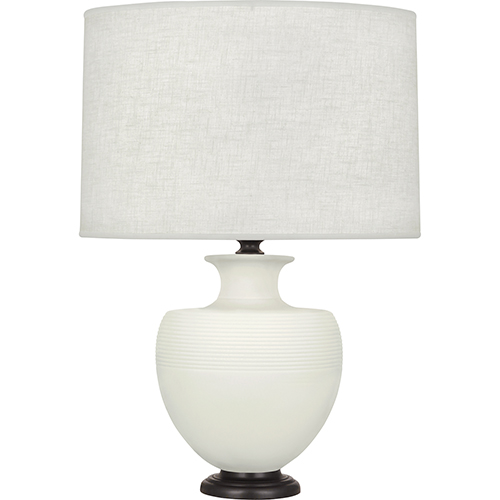 Robert Abbey Michael Berman Atlas Matte Lily Glazed Ceramic with Deep Patina Bronze Accents 25-Inch One-Light Table Lamp