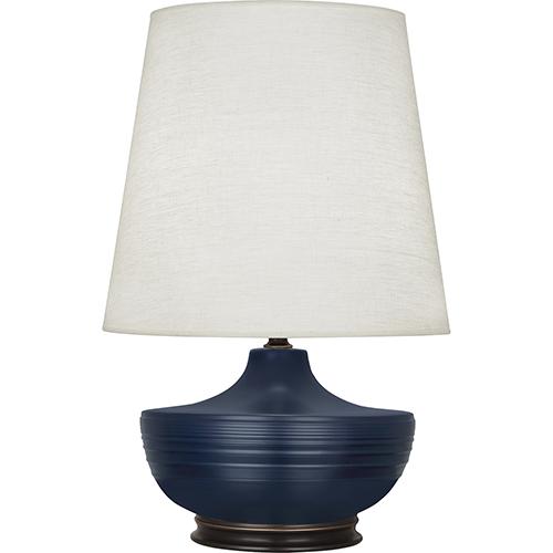 Michael Berman Nolan Matte Midnight Blue Glazed Ceramic and Deep Patina Bronze Accents 28-Inch One-Light Table Lamp