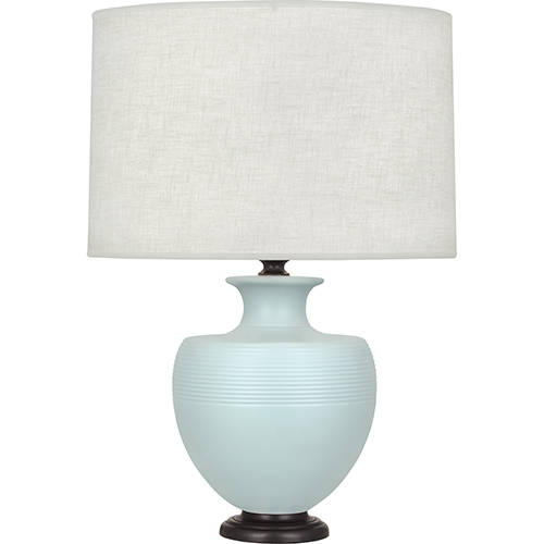 Robert Abbey Michael Berman Atlas Matte Sky Blue Glazed Ceramic with Deep Patina Bronze Accents 25-Inch One-Light Table Lamp