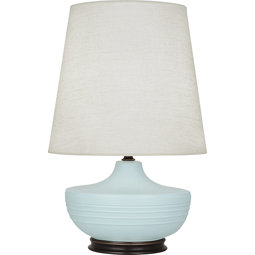 Robert Abbey Michael Berman Nolan Matte Sky Blue Glazed Ceramic with Deep Patina Bronze Accents 28-Inch One-Light Table Lamp