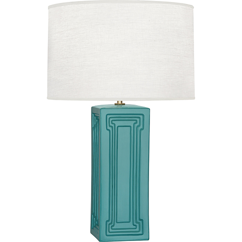 Robert Abbey Williamsburg Nottingham Mayo Teal Glazed Ceramic with Modern Brass Accents 30-Inch One-Light Table Lamp
