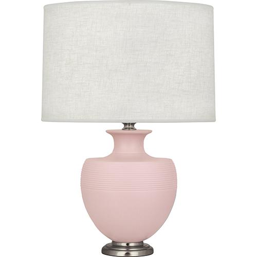 Robert Abbey Michael Berman Atlas Matte Woodrose Glazed Ceramic with Dark Antique Nickel Accents 25-Inch One-Light Table Lamp